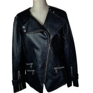 Nanette Lepore Vegan Leather Biker Jacket M